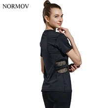 NORMOV S-L Workout Mesh T shirt Women Slim Solid Patchwork T shirt Quick Dry Breathable Short Sleeves Tops Women