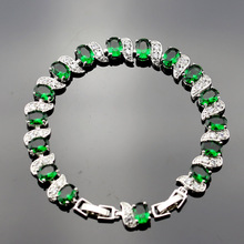 Green Created Emerald Bracelets For Women Silver Color Link & Chain Cubic Zircon Crystal Trendy Wedding Jewelry Sl13-001-02