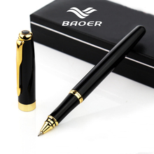 Full Metal Baoer 388 roller ball Pen 0.5mm Medium refill Gold Clip Black/Sliver/Matte office rollerball Pen Business stationery(China)