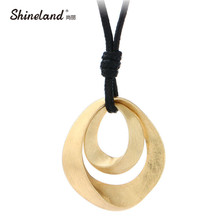Shineland Hot Sale Classic Jewelry Women Gold Silver Plated Handmade Drawing Brushed Double Oval Hollow Pendant Necklace Bijoux(China)