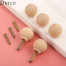 DRELD 5Pcs 29mm Wooden Furniture Handles Wood Cabinet Knobs and Handles Kitchen Drawer Wardrobe Door Pulls Furniture Hardware(China)