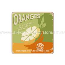 4pcs/set Fruit orange printed custom Home Table  Mat Bakery Creative Decor Wholesale Drink Placemat cork cup coaster