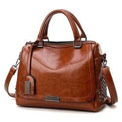 Известный бренд масло воск кожа с заклепками сумка через плечо сумки для женщин 2019 Tote Shouler сумка Роскошные сумки женские дизайнерские сумки
