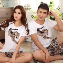 Free shipping new Lovers pajamas women's short-sleeved summer pajama sets couple pijamas sleepwear pyjamas for women G0128(China)