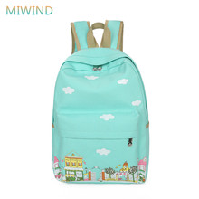 MIWIND 2016 Canvas Backpack Women Fresh Cloud Printing Backpack Cute Schoolbags For Girls Mochila Female Bookbag Rucksack CB247
