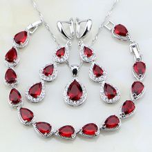 Water Drop Red Zirconia White CZ 925 Sterling Silver Jewelry Sets For Women Party Earrings/Pendant/Necklace/Bracelet T017(China)