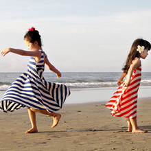 2017 Girls Bohemian Beach Dress Striped Princess Dress Children's Clothing Full Dresses Kids Baby Red Navy Blue 3-15 Years Old