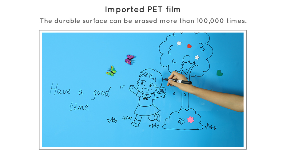 930_09 Dry Erase Ferrous whiteboard Waterproof Kitchen Wall stickers Hold Magnets Home Wall Room Decor Blue Color 80 x 50 cm x 0.6 mm