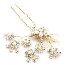 YAZILIND New Bridal Hairpins Wedding Hair Accessories Party Prom Hair Jewelry for Women Handmade Pearl Flower Headpiece