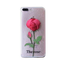 2017 Fashion korea cartoon sexy girl perfume beautiful woman simulation silk red rose flower flare glitter tpu case For Iphone