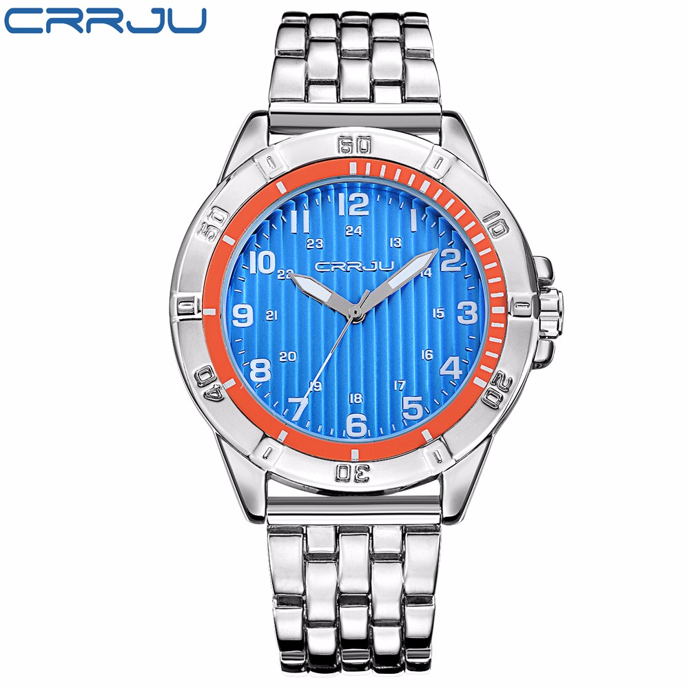 2017 Luxury Brand CRRJU Analog Display Mens Quartz Watch Casual Watch Men Watches Stainless Steel Men Watch Relogio Masculino<br><br>Aliexpress