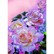Home Art 5D Diamond Painting Cross Stitch Peony Flower rhinestone pattern full square diamond Mosaic resin crafts purple flowers