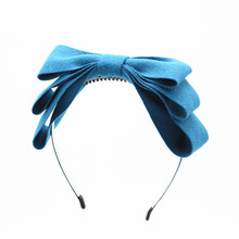 2017 New winter RETAIL felt 3 layor bow elegant headband fashion children hairband hair accessories OEM(China)