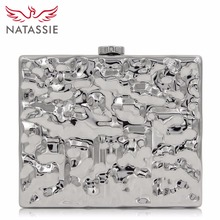 Natassie New Design Ladies Gold Fashion Box Evening Bag Acrylic Clutch Purse With Hard Case(China)