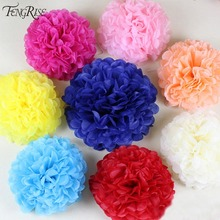 FENGRISE Artificial Flowers 5pcs 15 cm Decorative Cheap China Pom Poms Garland Fake Wreath Wedding Car Tissue Paper Balls Crafts