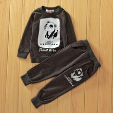 Girl boy clothing collection of cartoon panda long sleeve T-shirt + pants 2 computer set up for 3 to 7 years children clothes