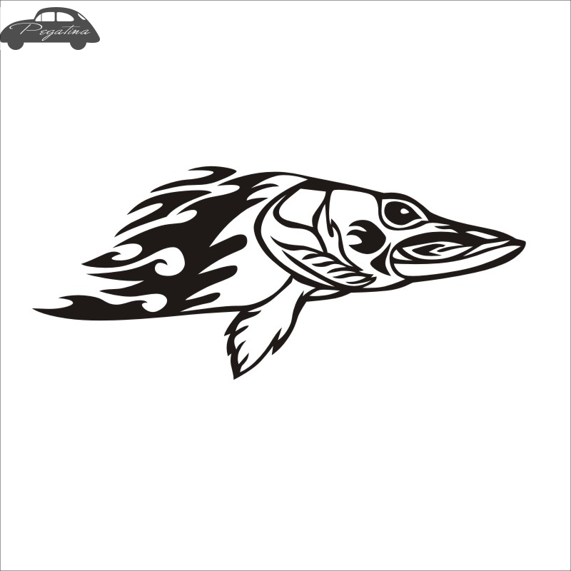 Pegatina Esox Fish Dogfish Car Decal Pike Posters Boat Decals Decor Mural Wall Sticker Angling Hooks Shop Vinyl