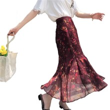 Korean Style Beach Floral Ladies Women Long Skirt Tutu Women 2017 Spring Autumn Chiffon Mermaid Chic Woman Skirts Elegant