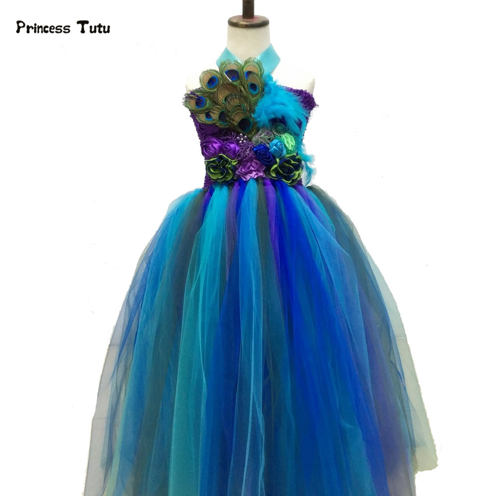 Girl Pageants Feathers Peacock Dress Flowers Tulle Tutu Dress Kids Girls Evening Gowns Children Photoprops Wedding Party Dresses<br>