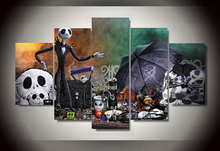 5 Pieces Nightmare Before Christmas Jack Skellington Home Wall Decor Canvas Picture Art HD Print Painting On Canvas Artworks