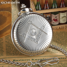 Vintage GORBEN Watch Masonic Free-Mason Luxury Silver Quartz Pocket Watch Steampunk Men's Pocket Watch Fob Chain Necklace