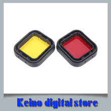 2015 New 2In1 Yellow & Red color polarizer UV lens filter for mini camcorder GoPro hero 3+ Hero 4 Go pro accessories