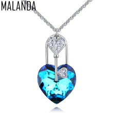 MALANDA Romantic Heart Pendant Necklaces Crystal From Swarovski Zircon key Statement Necklaces For Women Jewelry Christmas Gift(China)
