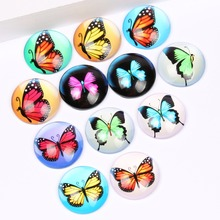 50pcs/lot Mixed Round Flatback Dome Fancy Butterfly photo Glass Cabochon 12mm diy jewerly earrings accessories(China)