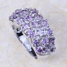 New 2017 Wholesale & Retail Purple Cubic Zirconia Silver Colour Fashion Cluster Engagement Ring J104