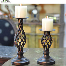 Metal Candle Holders Stand Pillar Iron Black Europe Candlestick For Candelabra Wedding Decoration Portavelas Candelabra 04901(China)