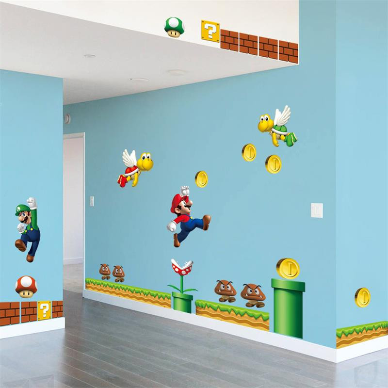 HTB1GJ4QRpXXXXaBaXXXq6xXFXXXu Super Mario Bros Kids Removable Wall Sticker Decals Nursery Home Decor Vinyl Mural for Boy Bedroom Living Room Mural Art