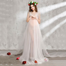 Bear Leader Maternity Dress 2017 New Maternity Photography Props Maternity Party Dress Voile And Flowers Design For Graceful Mom(China)