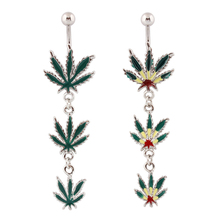 Navel Piercing dangle Jamaican Rasta Pot Leaf gem Belly button rings body jewelry 14G stainless steel wholesale free shipping