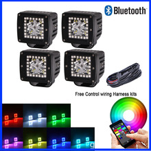 "1 Set 4pcs LED Work Light Bar 3x3""inch Cube Pods with RGB Halo Ring Multicolor Change Strobe Music Flash Bluetooth App Control(China)"