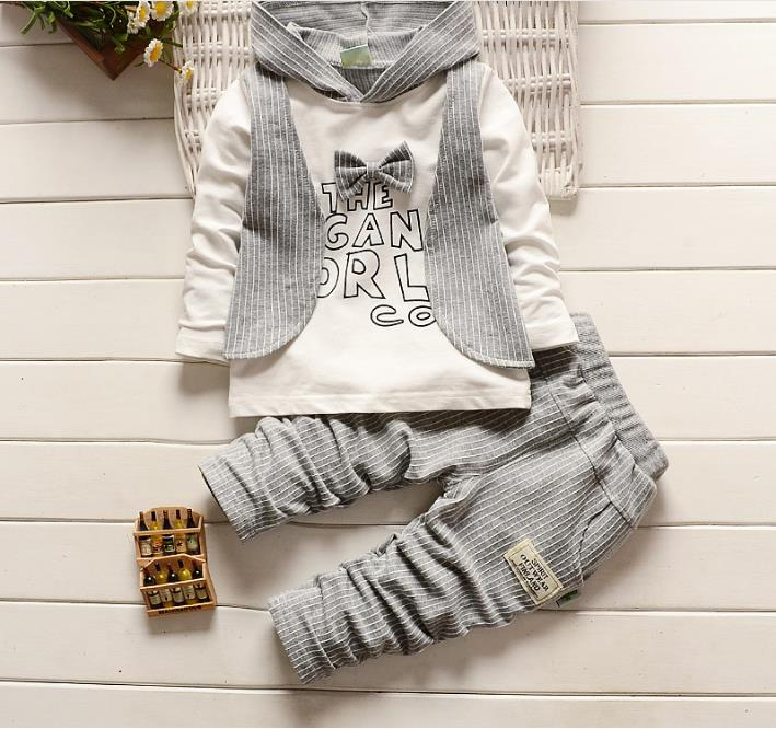 (4Pcs/lot) 2Pcs Set Toddler Newborn Baby Boy Girl Hoodie Tops Long Sleeve Bow Tie Shirt + Striped Pants Infant Outfit Clothes