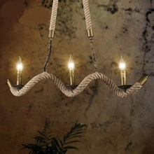 Vintage American country Iron NEW Pendant Lights rope creative personality 3 Garden Restaurant Cafe Bar Wavy type Pendant Lamps