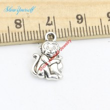 25pcs Tibetan Silver Plated Monkey Mom Baby Charms Pendants for Necklace Bracelet Jewelry Making DIY Handmade 16x10mm