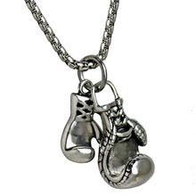 Men Gym Pendant Necklace Stainless Steel Chain Boxing Glove Male Power Necklace Charm Hiphop Sport Fitness Men Jewelry