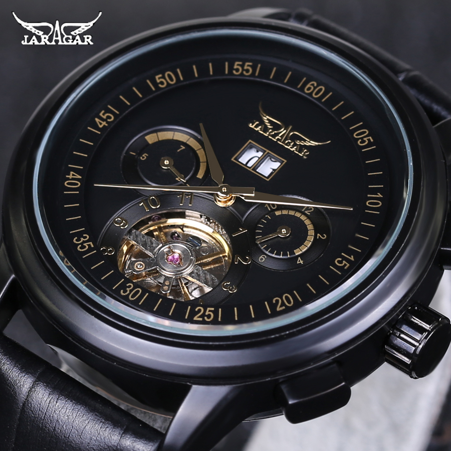 Top Luxry Brand JARAGAR Men Automatic Mechanical Wrist Watches Stainless Steel Large Dial Tourbillon Watch Male Atmos Clock<br>