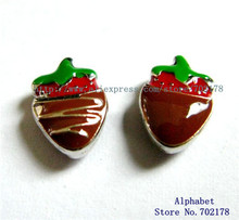 Free shipping 20pcs wholesales FC613 Stereo Chocolates Strawberry floating locket charm fit for memory locket(China)