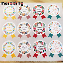 MEIDDING 120pcs Painted 'Flower Hand Made Thank You' Seal Sticker Labels Hand Made Cookies Gifts Decor Thanksgiving Day Supplies(China)