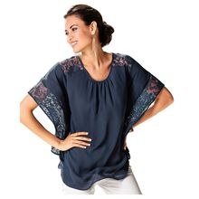 MAKE Hot Women Summer Fashion Blouses Short Sleeve Batwing Spliced Lace Blouses Shirts Casual Loose Tops(China)