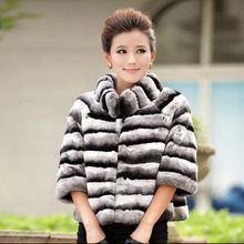 2017 Winter women natural fur coat warm soft real rex rabbit fur jacket for lady fashion Chinchilla fur outerwear brand