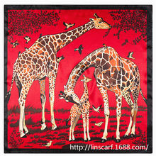 European and American big giraffe animal printed 60cm*60cm silk ladies small square scarf wholesale scarves shawl Hijab