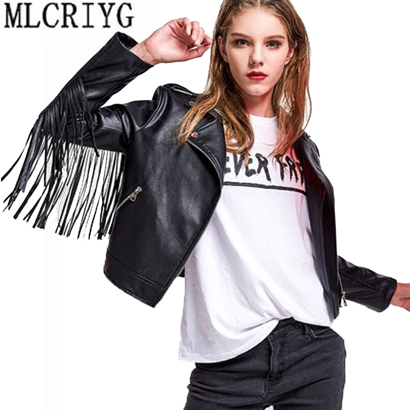 2019 New Women Casual Motorcycle Faux Soft Pu Washed Leather Jackets Female Spring Tassel Short Black tops Coat Outwear LX123