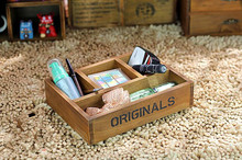 1PC Zakka grocery retro old wooden desk storage box little Antique Wooden Table Sundries Container Cosmetics Storage Box J0902(China)
