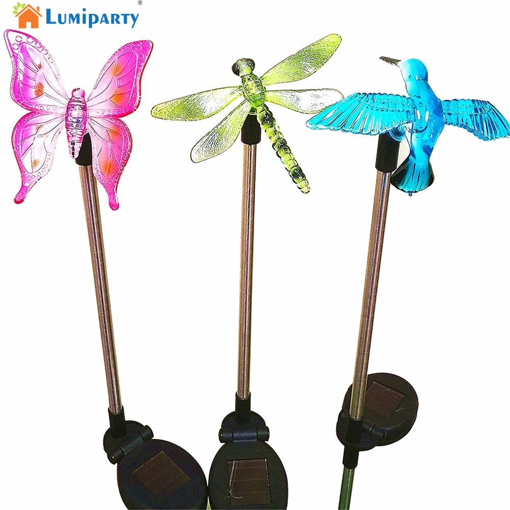 Lumiparty Solar Powered LED Color Changing Outdoor Stake Lights Solar Decorative Landscape Lighting LawnLight Garden Decorations(China)