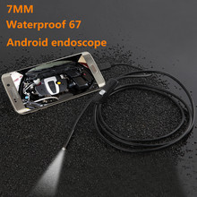 Android USB Endoscope camera 6 LED 7mm Lens Waterproof Inspection car Borescope Tube Camera with 2M Cable endoscopic(China)