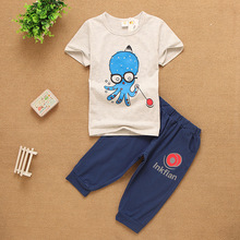 Casual kids boy clothing sets cotton t-shirt&middle pants cartoon octopus printed Children boys sets for boys sports cloth suit