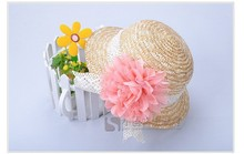 2014 Wholesale summer Children lace chiffon flowers straw hat baby girls Beach Hats sun hat 10 pcs/lot(China)